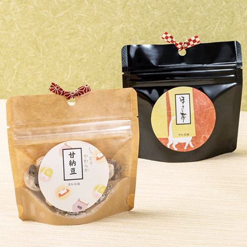 かわいいなお茶と菓子セットのパッケージ