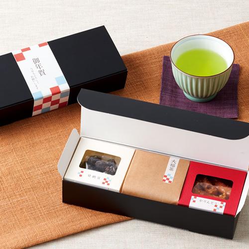 シンプルなお茶と菓子セットのお正月ギフト