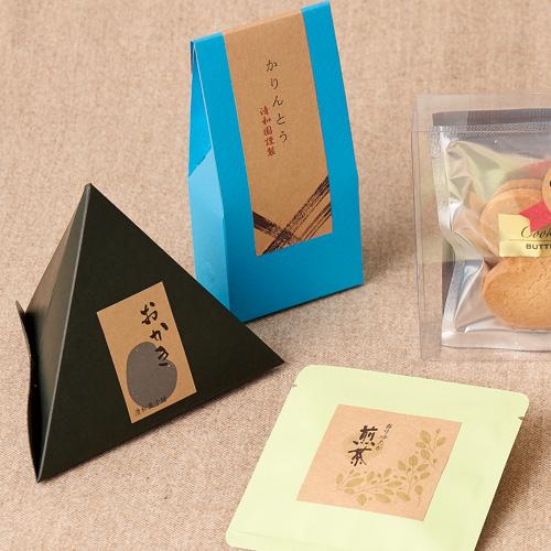 ナチュラルなお茶と菓子セットのパッケージ