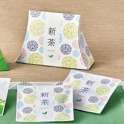 クラフト袋にインクジェットプリンタで印刷したオリジナル新茶ラッピング